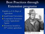 best practices through extension programs