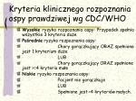 kryteria klinicznego rozpoznania ospy prawdziwej wg cdc who2