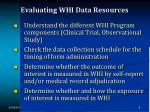 evaluating whi data resources