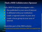 find a whi collaborator sponsor