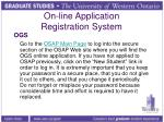 on line application registration system
