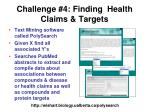 challenge 4 finding health claims targets