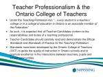 teacher professionalism the ontario college of teachers