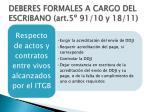 deberes formales a cargo del escribano art 5 91 10 y 18 11