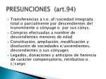 presunciones art 94