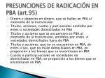presunciones de radicaci n en pba art 951