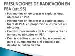 presunciones de radicaci n en pba art 952