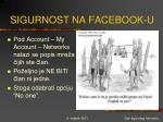 sigurnost na facebook u