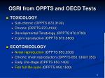 osri from oppts and oecd tests