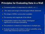 principles for evaluating data in a woe