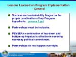 lessons learned on program implementation general