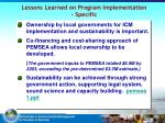 lessons learned on program implementation specific