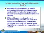 lessons learned on program implementation specific1