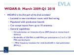 widar 0 march 2009 q1 2010