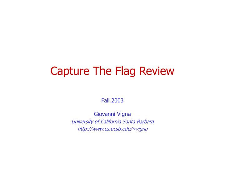 capture the flag review n.