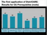 the first application of districare results for cg prerequisites roots