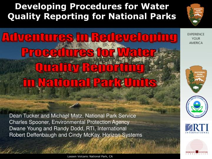 developing procedures for water quality reporting for national parks n.