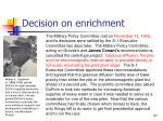 decision on enrichment