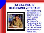gi bill helps returning veterans