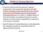 seesim 14 training objectives