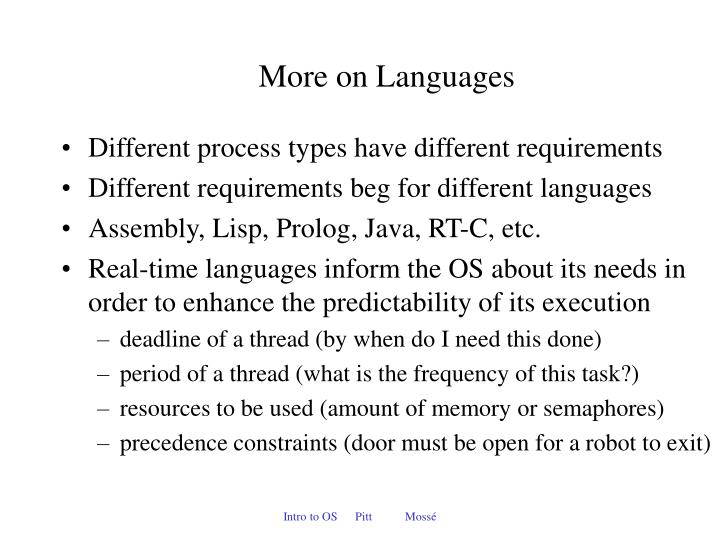 More on Languages