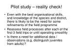 pilot study reality check