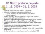 iv n vrh postupu projektu 1 12 2004 31 3 2005
