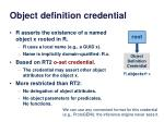 object definition credential