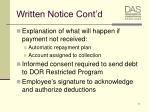 written notice cont d