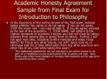 academic honesty agreement sample from final exam for introduction to philosophy