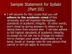 sample statement for syllabi part iii