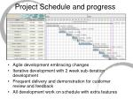 project schedule and progress
