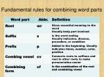 fundamental rules for combining word parts