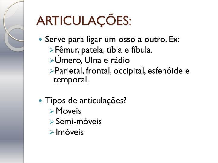ARTICULAÇÕES: