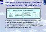 development of meteo processor and interface between urban scale nwp and uap models