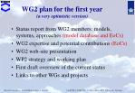 wg2 plan for the first year a very optimistic version