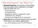 deemed exports and dual use
