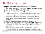 the rules for exports