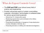 what do export controls cover