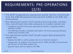 requirements pre operations 2 3