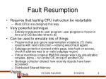 fault resumption