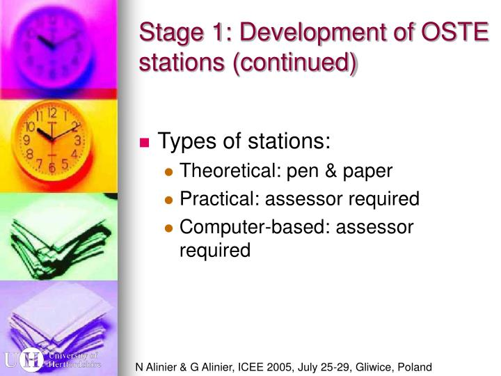 Stage 1: Development of OSTE stations (continued)