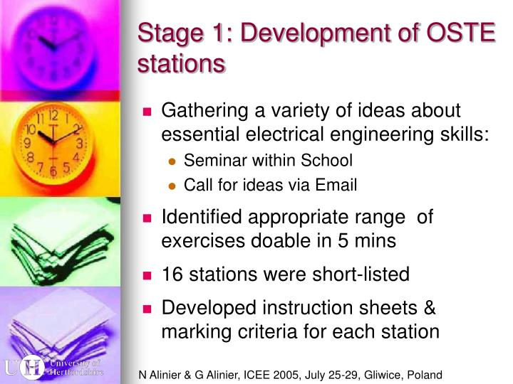 Stage 1: Development of OSTE stations