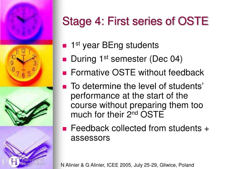 Stage 4: First series of OSTE