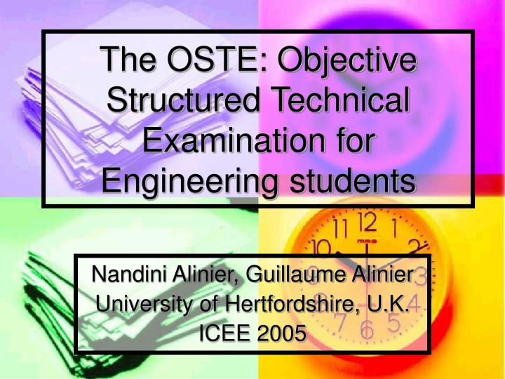The oste objective structured technical examination for engineering students