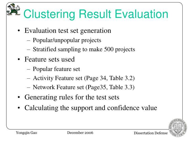 Clustering Result Evaluation
