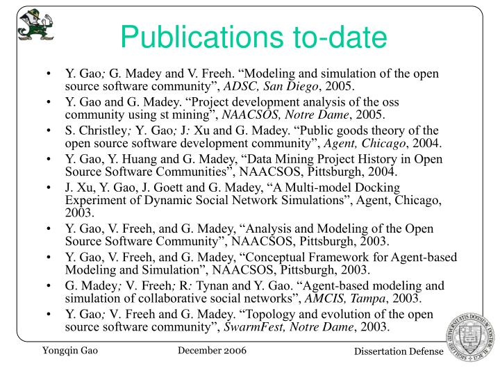 Publications to-date