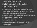considerations in the implementation of the school improvement plan