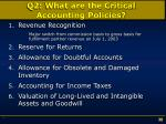 q2 what are the critical accounting policies