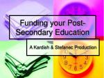 funding your post secondary education